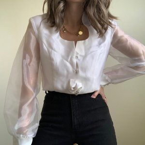 Vintage Tops - Sheer Puff Sleeve Boxy Blouse Button Up